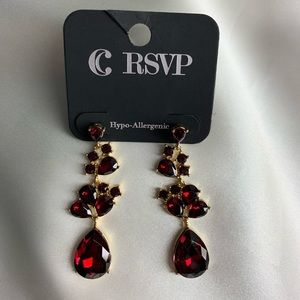 NEW‼️Charming Charlie red and gold earrings